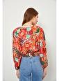 Setre Mercan Floral Desen V Yaka Bluz Mercan